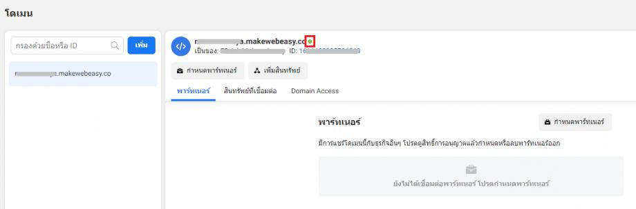 Domain Verification - สถานะเมื่อยืนยันเสร็จ